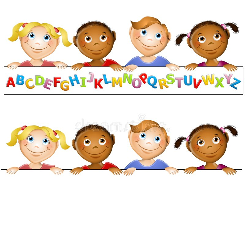 Kindergarten Kids Alphabet Logo. An illustration featuring a group of cute cartoon kids holdng an alphabet sign and blank 'topper' sign below ideal for placement
