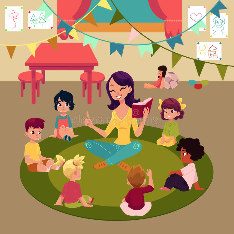 Kindergarten kids listen to teacher reading a book vector illustration
