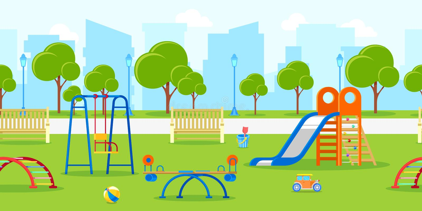 Kindergarten or kids playground in city park. Vector horizontal seamless background. Leisure and outdoor activities. stock illustration