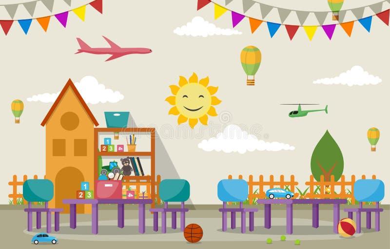 Kindergarten-Klassenzimmer-schulen Innenkinderkinder Spielwaren-Möbel-Vektor-Illustration lizenzfreie abbildung