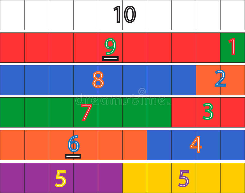 Kindergarten Math Game. Classroom-tested Kindergarten Math game designed to help children understand the concept of decomposing numbers from a base of ten. Print stock illustration