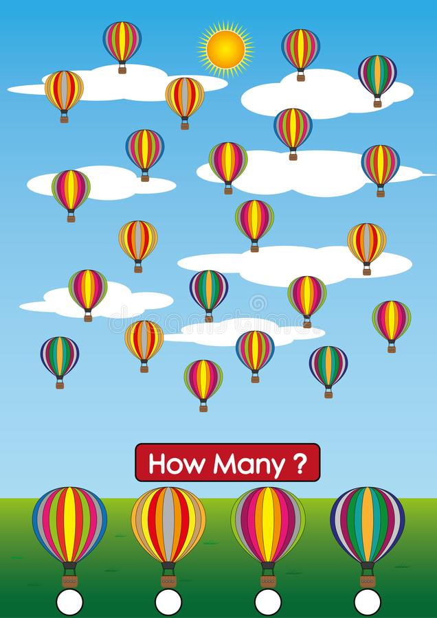 Kindergarten Math Worksheets, How Many Air Balloon Are There Stock ...