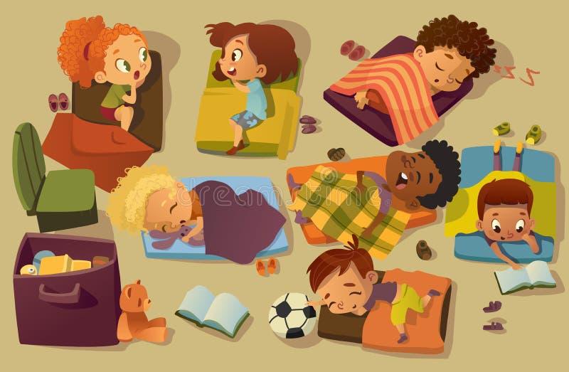 Kindergarten Nap Time Kid Vector Illustration Gemischtrassiger Kindervorschulschlaf auf Bett, Freundin-Klatsch wenig lizenzfreie abbildung