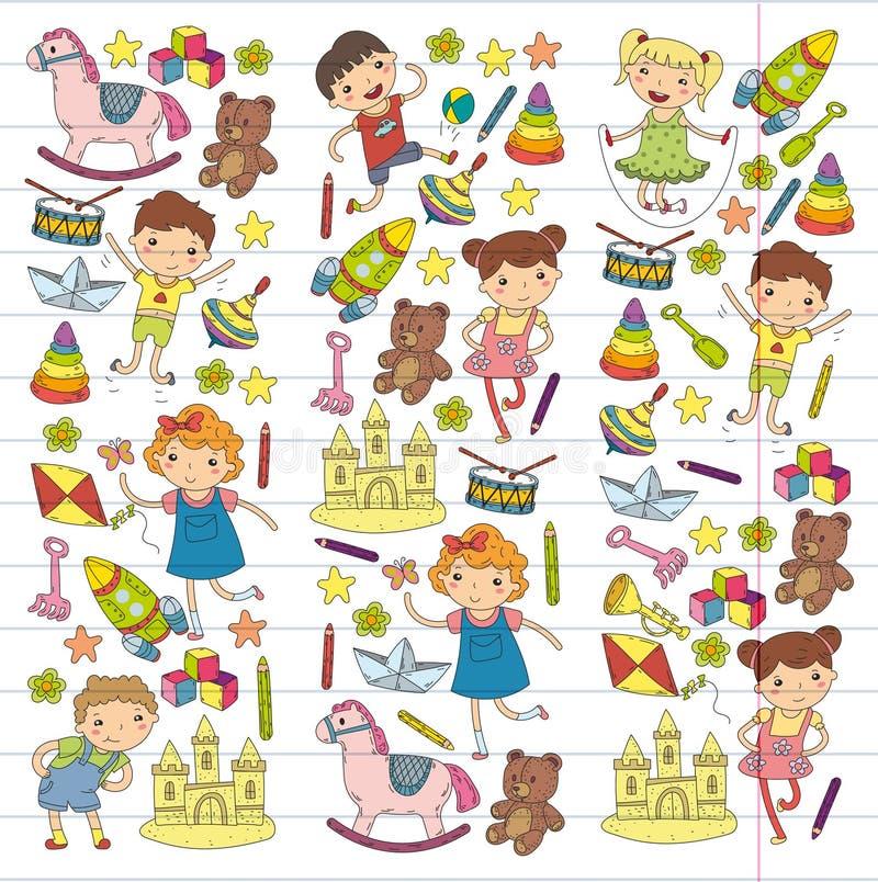 Kindergarten Nursery Preschool School education with children Doodle pattern Kids play and study Boys and girls kids stock illustration