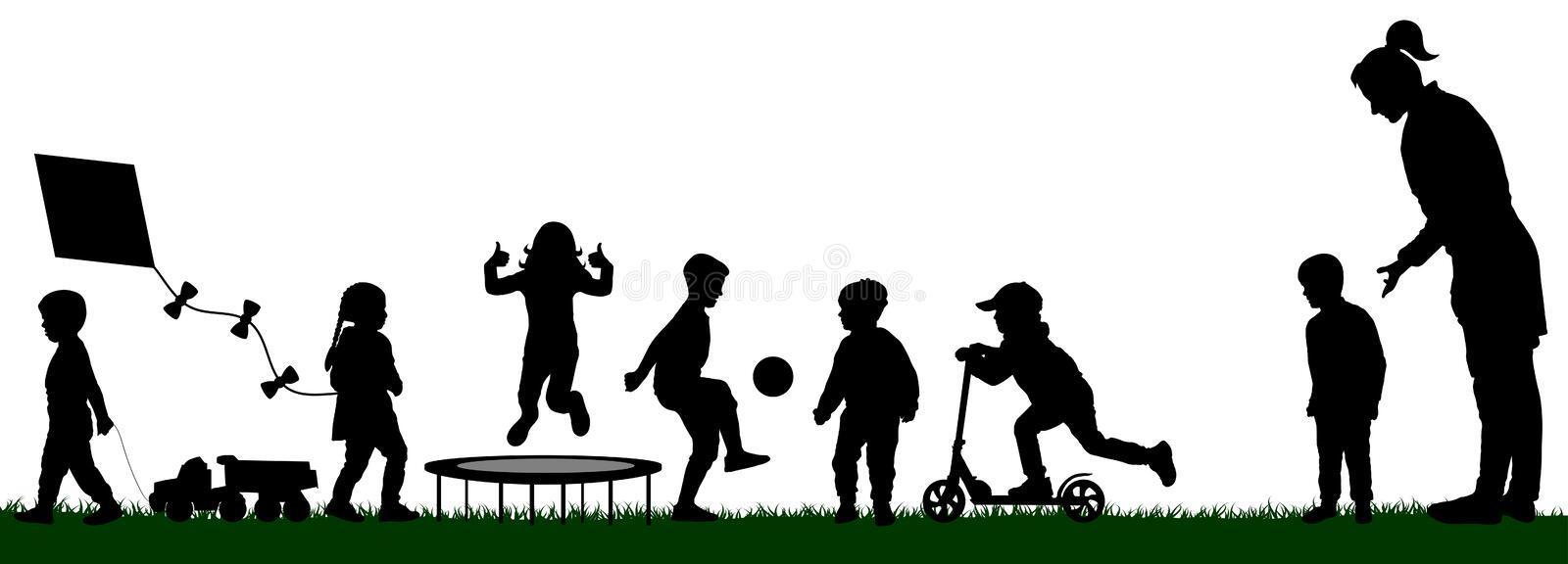 Kindergarten with playing children. Socialization of children. Playground with kids silhouette vector. Mom pushes her son to play royalty free illustration