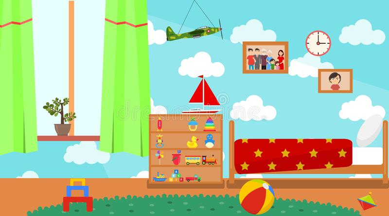 Kindergarten room. Empty playschool room with toys and furniture. Cartoon kids bedroom interior. Home childrens room with kid bed. And child toys. Vector stock illustration