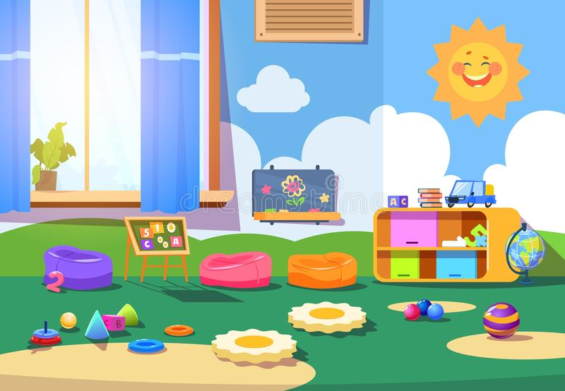 Kindergarten room. Empty playschool room with toys and furniture. Kids playroom cartoon vector interior. Playschool kindergarten, furniture indoor interior for stock illustration