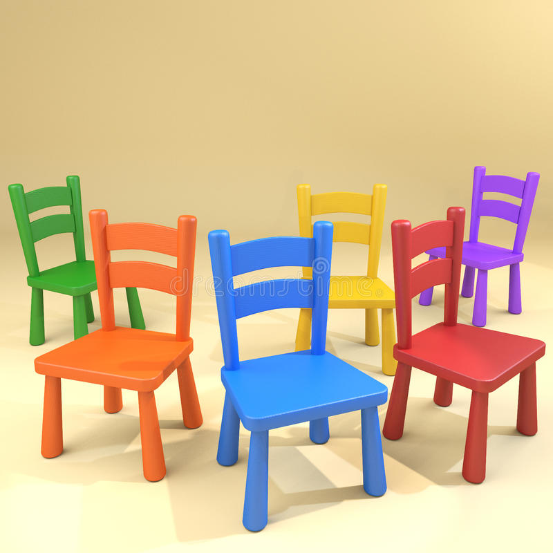 Kindergarten school chairs jumbled group. Various bright colors jumbled wooden chairs group stock illustration