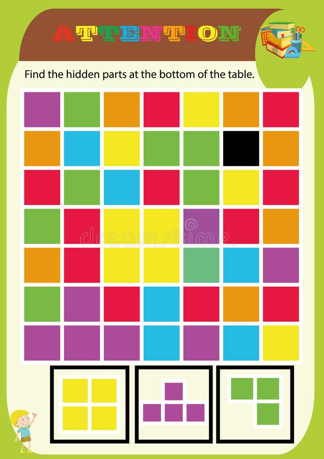 Kindergarten symbol work.geometric shapes.Sudoku for kids with colorful geometric figures. Game for preschool kids, training logic royalty free illustration