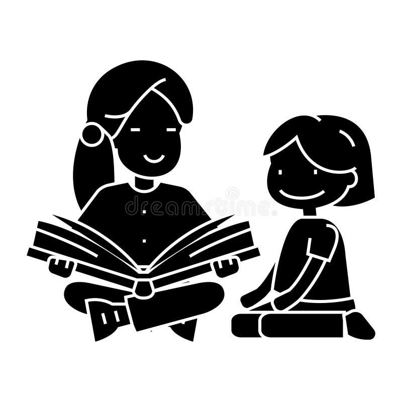 Kindergarten teacher, woman reading book to girl icon, vector illustration, sign on isolated background. Kindergarten teacher, woman reading book to girl icon vector illustration