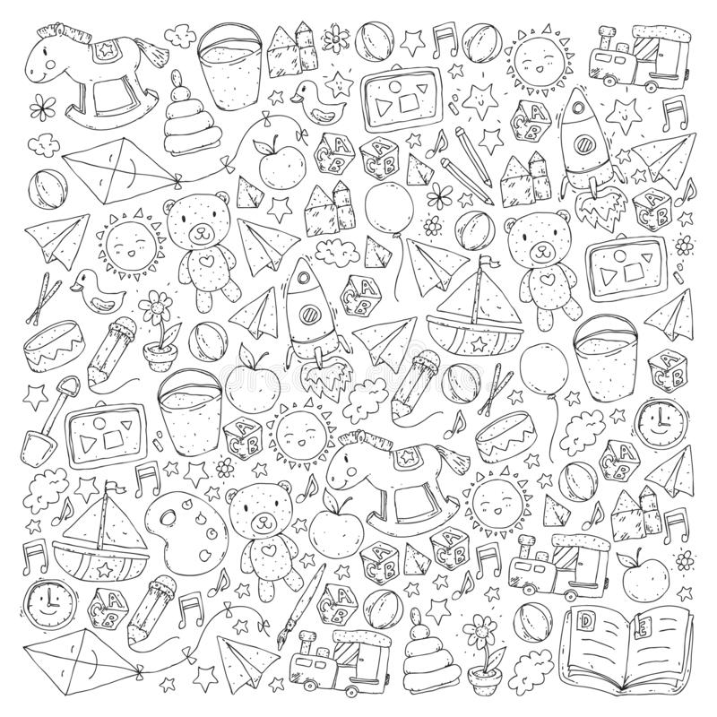 Kindergarten Vector seamless pattern with toys and items for education. royalty free illustration