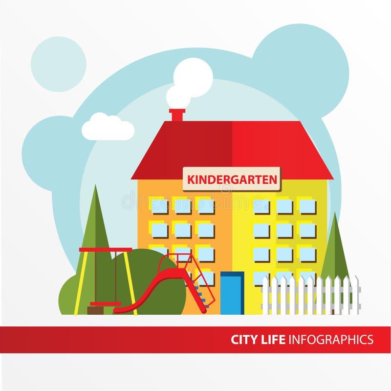 Kindergartengebäudeikone in der flachen Art vortraining Konzept für die Stadt infographic lizenzfreie abbildung