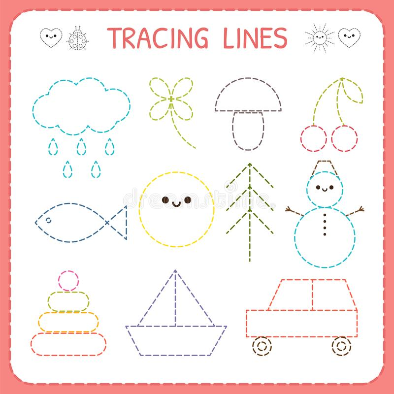 Tracing Lines. Worksheet For Kids. Basic Writing. Working Pages For ...