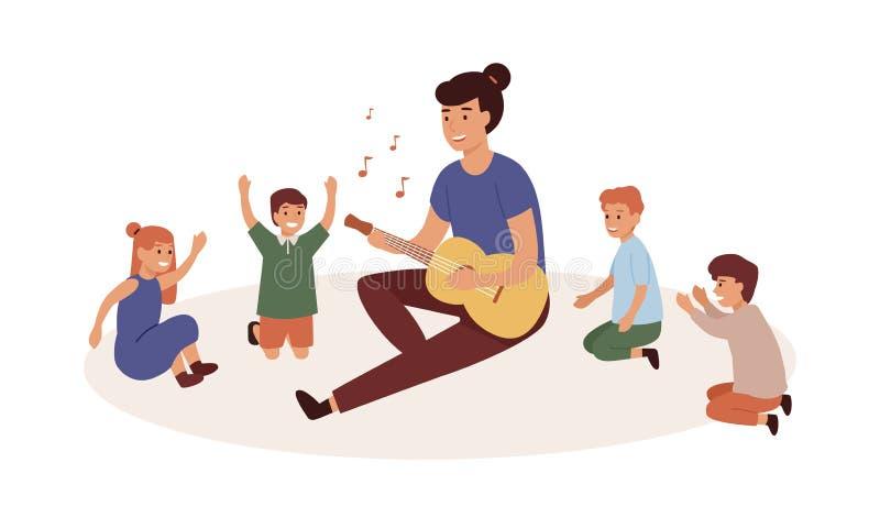 Kindergartner con bambini illustrazione di vettoriale piatta di gruppo Nursery governa suonando la chitarra Musica e lezione di c illustrazione di stock