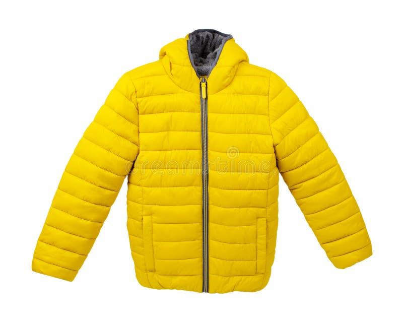 Kindergelbe Jacke, Modetuch Abisoliert auf weiß lizenzfreies stockbild