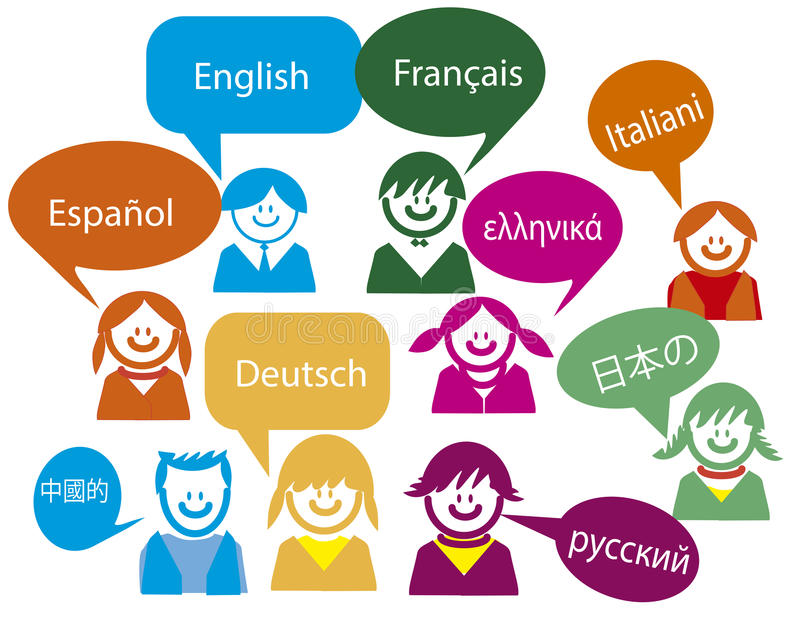 Kindergespräch in sehrer viel Landsprache lizenzfreie abbildung
