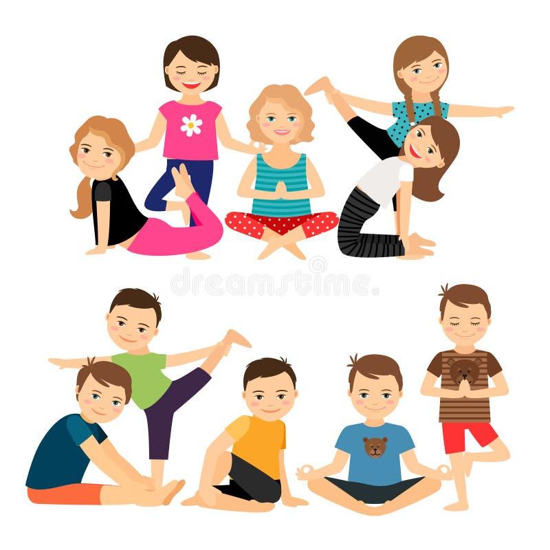 Kindergruppen in den Yogahaltungen vektor abbildung