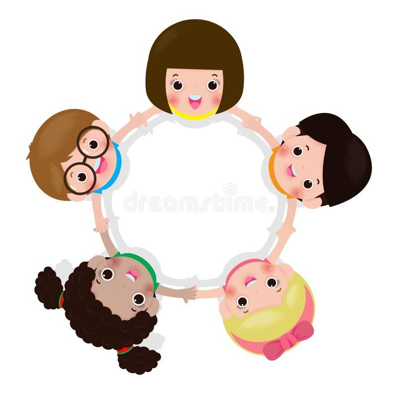 Kinderhändchenhalten in einem Kreis lokalisiert auf weißem Hintergrund, Vektorillustration in der flachen Art vektor abbildung