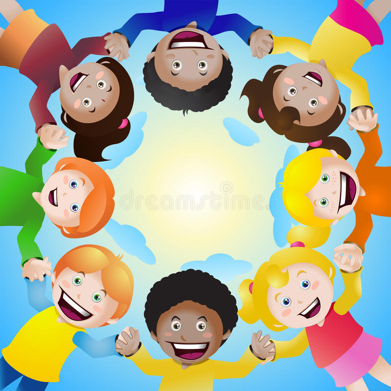 Kinderhändchenhalten im Kreis stock abbildung