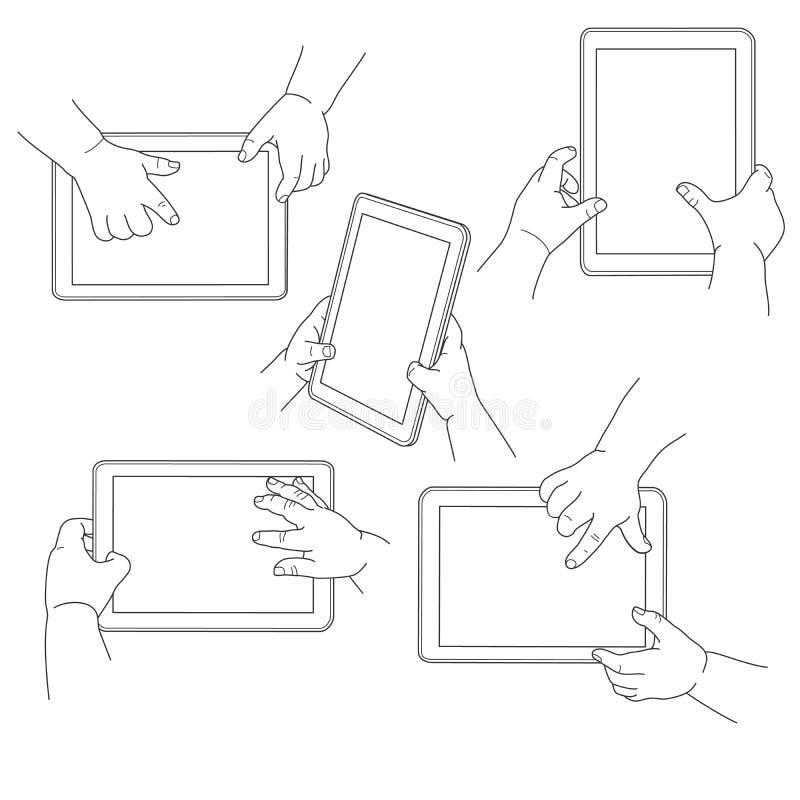 Kinderhände, die eine Tablette, Vektor halten lizenzfreie abbildung