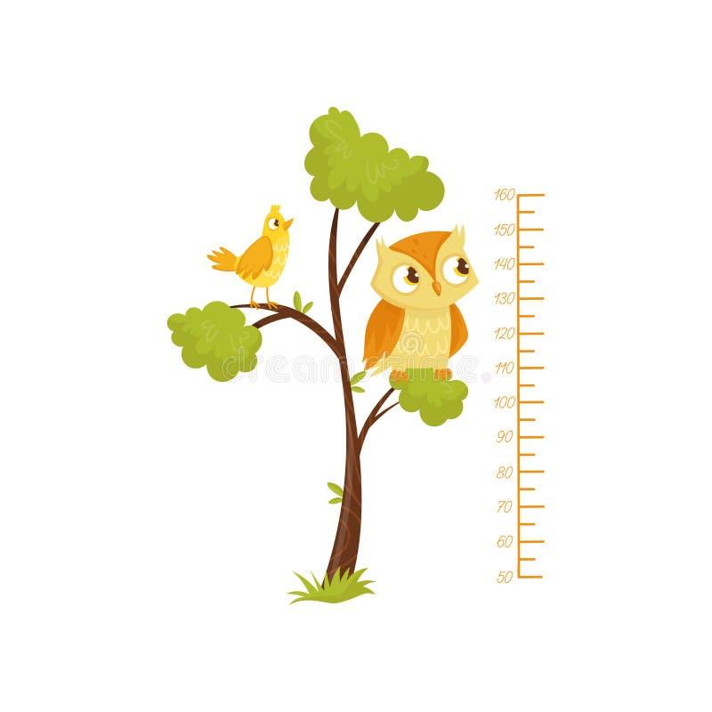 Kinderhöhendiagramm und -vögel, die auf Niederlassungen des Baums sitzen Skala des Wachstums Dekorativer Wandaufkleber für Kinder stock abbildung