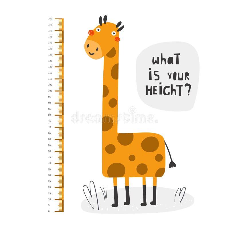 Kinderhöhenmessung, Zentimeter, Diagramm mit Giraffe für Wand lizenzfreie abbildung