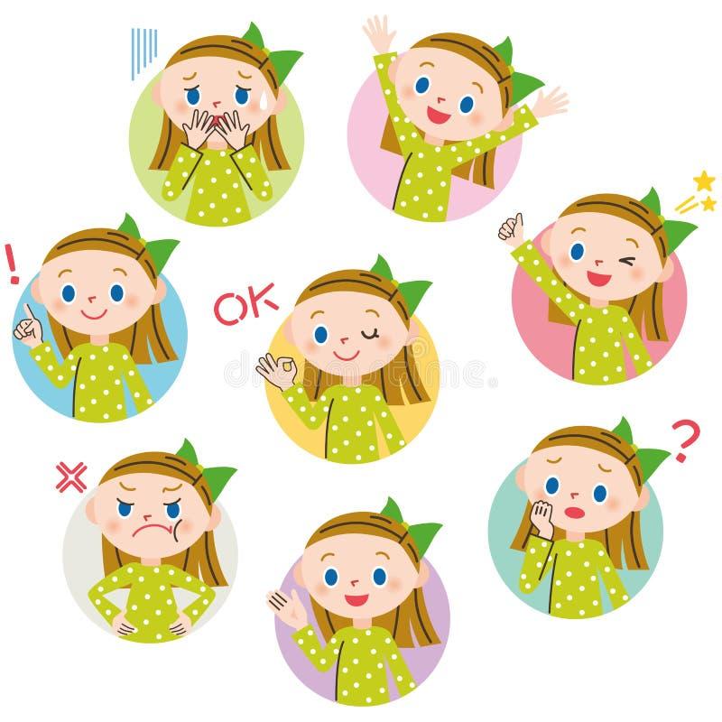 Kinderhaltungsausdruck der Frau lizenzfreie abbildung