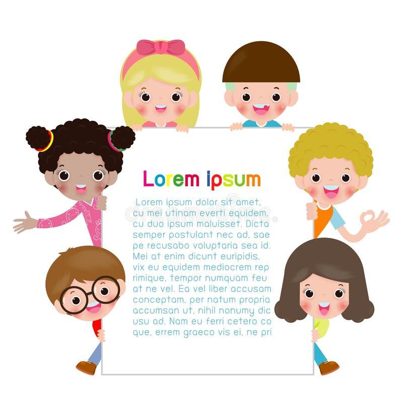 Kinderholdingzeichen, Kinder, die hinter Plakat, glückliche Kinder, nette Kleinkinder auf weißem Hintergrund, Vektor-Illustration stock abbildung