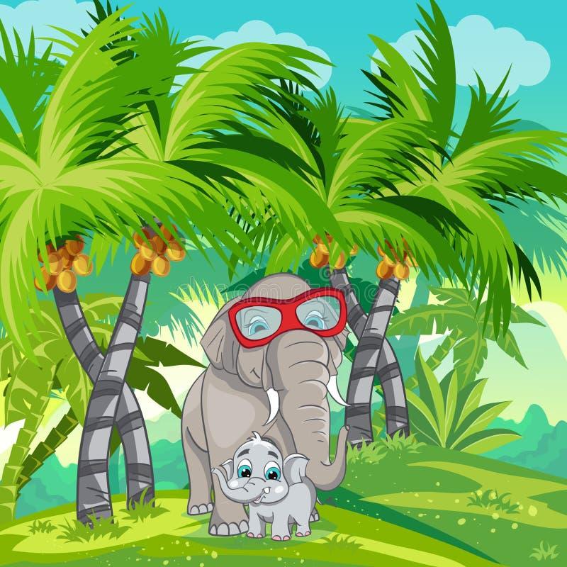 Kinderillustration des Dschungels mit einer Familie von Elefanten lizenzfreie abbildung