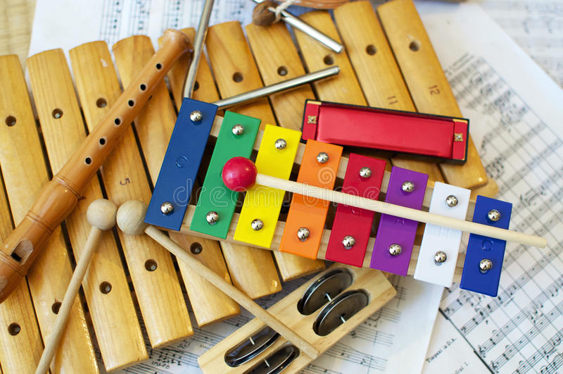 Kinderinstrumente stockfoto