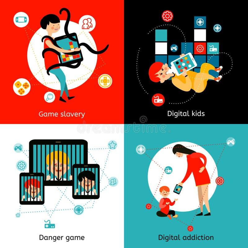 Kinderinternet-Sucht 4 flache Ikonen lizenzfreie abbildung