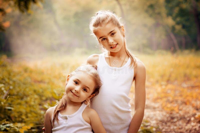 Kinderjaren, familie, vriendschap en mensenconcept - twee gelukkige jonge geitjeszusters die in openlucht koesteren stock foto's