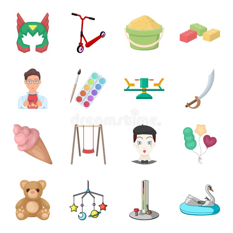Kinderjaren, vermaak en spel, dessert, stuk speelgoed Vastgestelde de inzamelingspictogrammen van het babyvermaak in het vectorsy stock illustratie