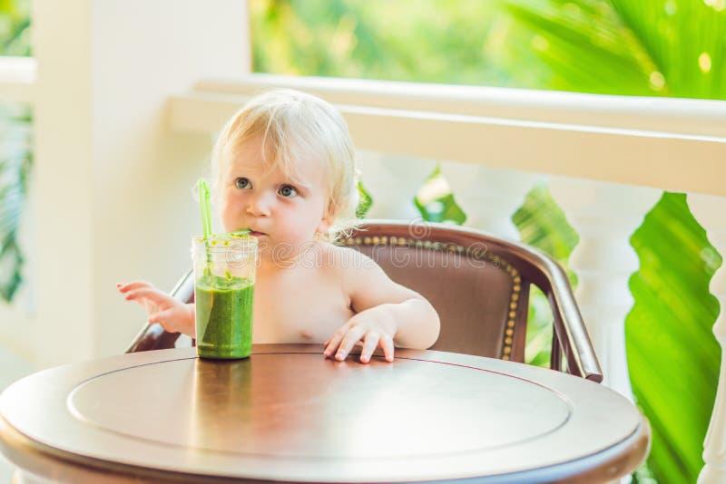 Kinderjunge, der gesunden grünen Gemüsesmoothie - gesunde Ernährung, strenger Vegetarier, Vegetarier, biologisches Lebensmittel u lizenzfreie stockfotos