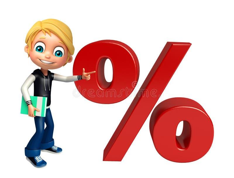 Kinderjunge mit Prozentsatzzeichenbuch stock abbildung