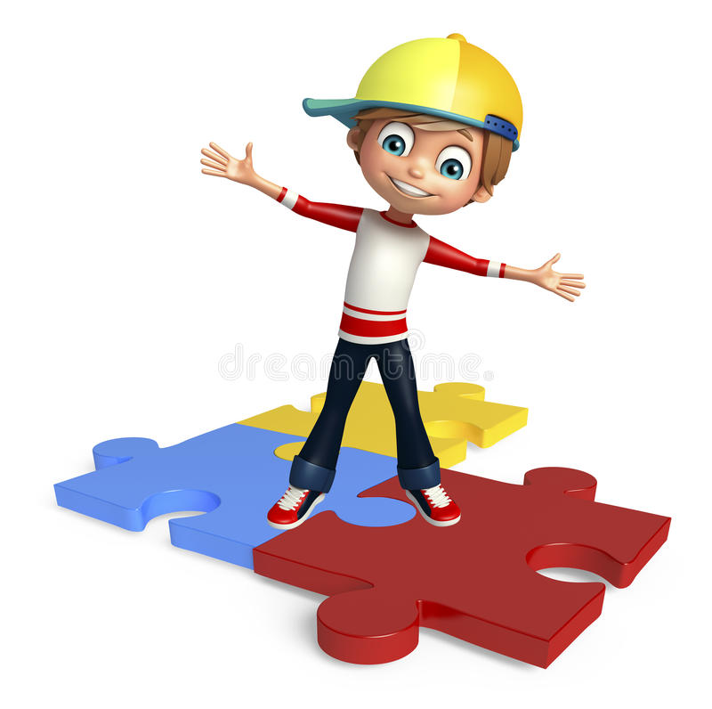 Kinderjunge mit puzzel lizenzfreie abbildung