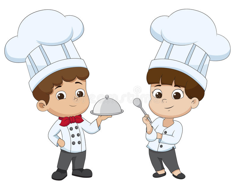Kinderkarikaturchef bereiten Lebensmittel zu stock abbildung