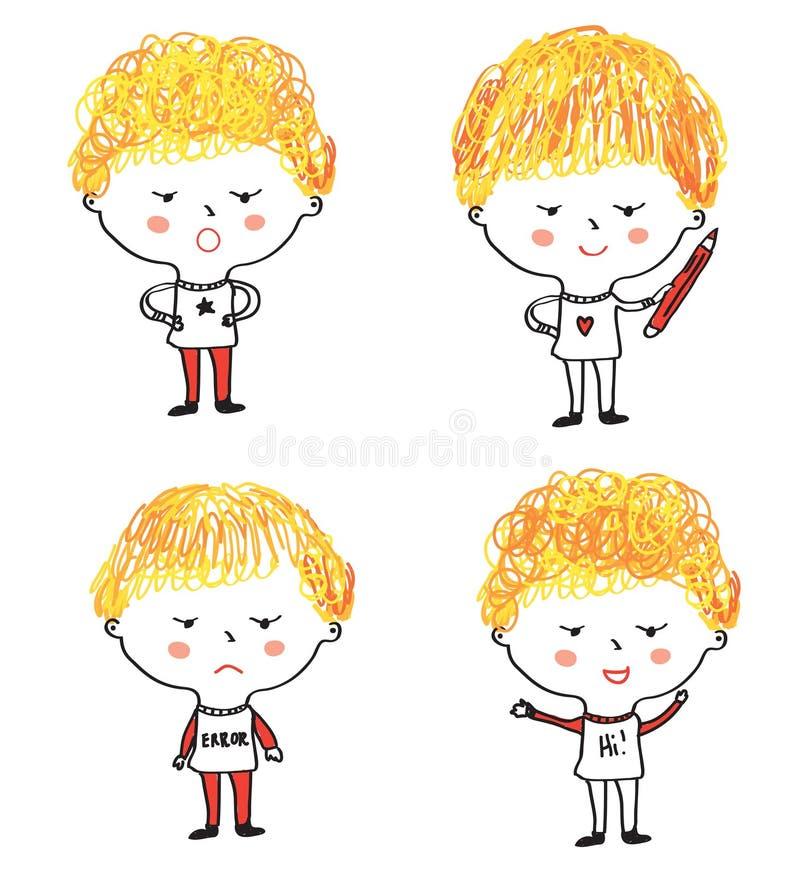 Kinderkarikaturen eingestellt mit verschiedenen Gesichtsausdrücken stock abbildung