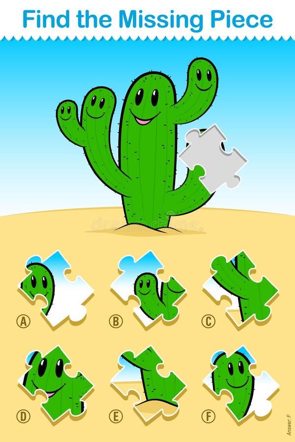 Kinderkarikaturkaktus finden das fehlende Stück-Puzzlespiel lizenzfreie abbildung
