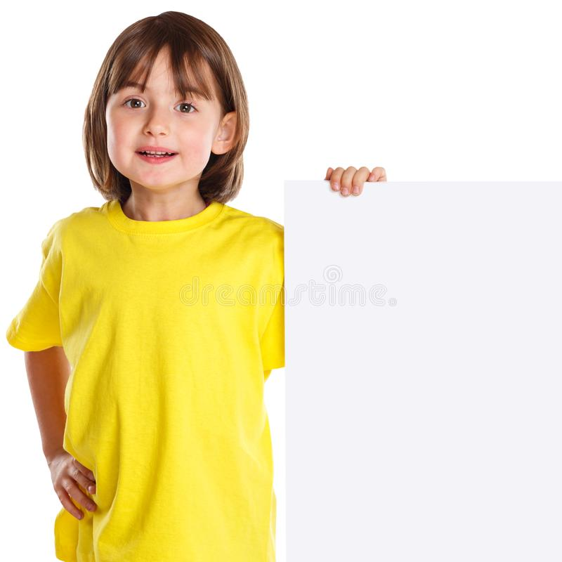 Kinderkinderlächelndes leeres leeres Zeichen der jungen kleines Mädchen copyspace Marketing-Anzeige lokalisiert stockbilder