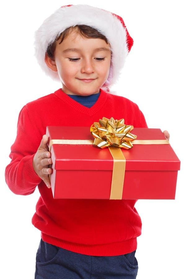 Kinderkindweihnachtsgeschenkgeschenk Santa Claus-Überraschung O stockbild
