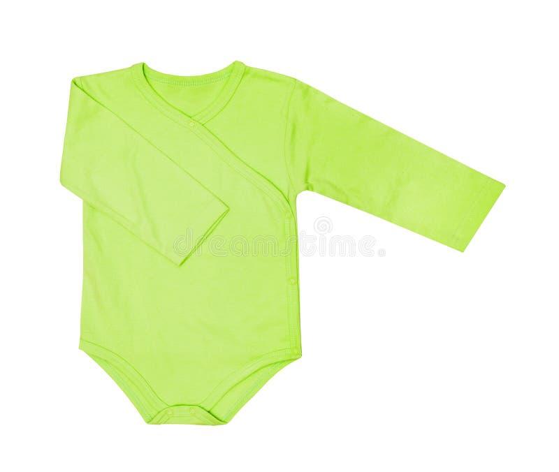 Kinderkleidung - Babygrünbodysuit-Kleidungsspielanzug des Kindes, Lagerschwelle stockfotos
