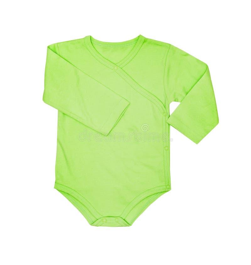 Kinderkleidung - Babygrünbodysuit-Kleidungsspielanzug des Kindes, Lagerschwelle lizenzfreies stockbild