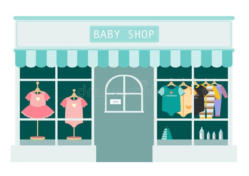 Kinderkleidungsshop-, Shop- und Speicherikonen, Vektorillustration lizenzfreie abbildung