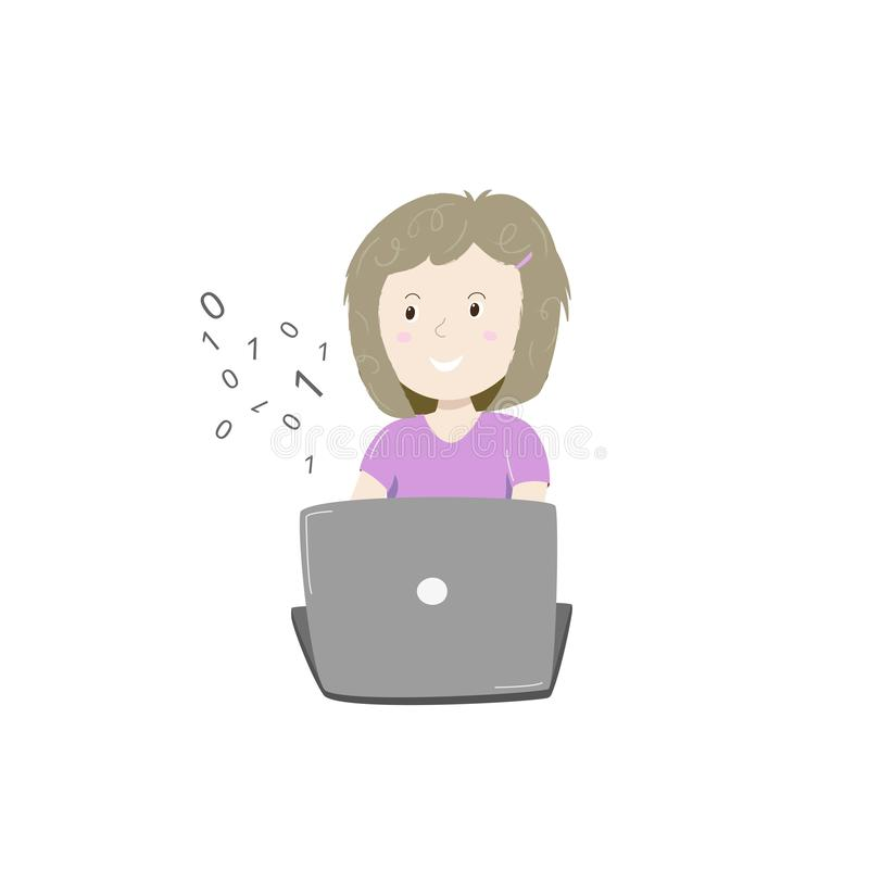 Kinderkodierung Glückliches kleines Mädchen, das Kodierung mit ihrem Laptop lernt Auch im corel abgehobenen Betrag vektor abbildung