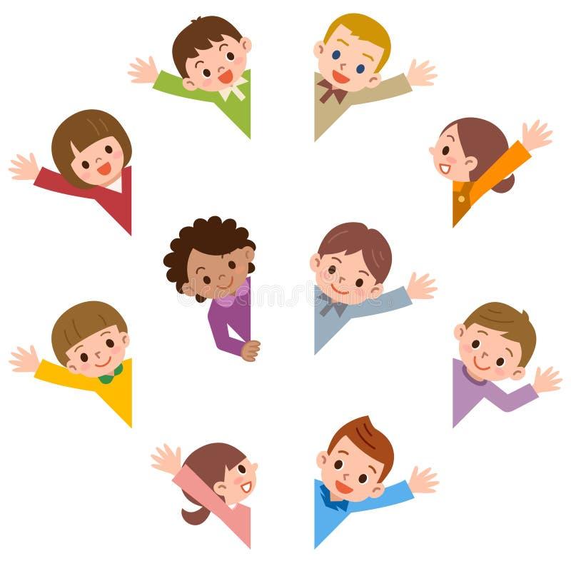 Kinderlächelnwellenartig bewegen lizenzfreies stockbild