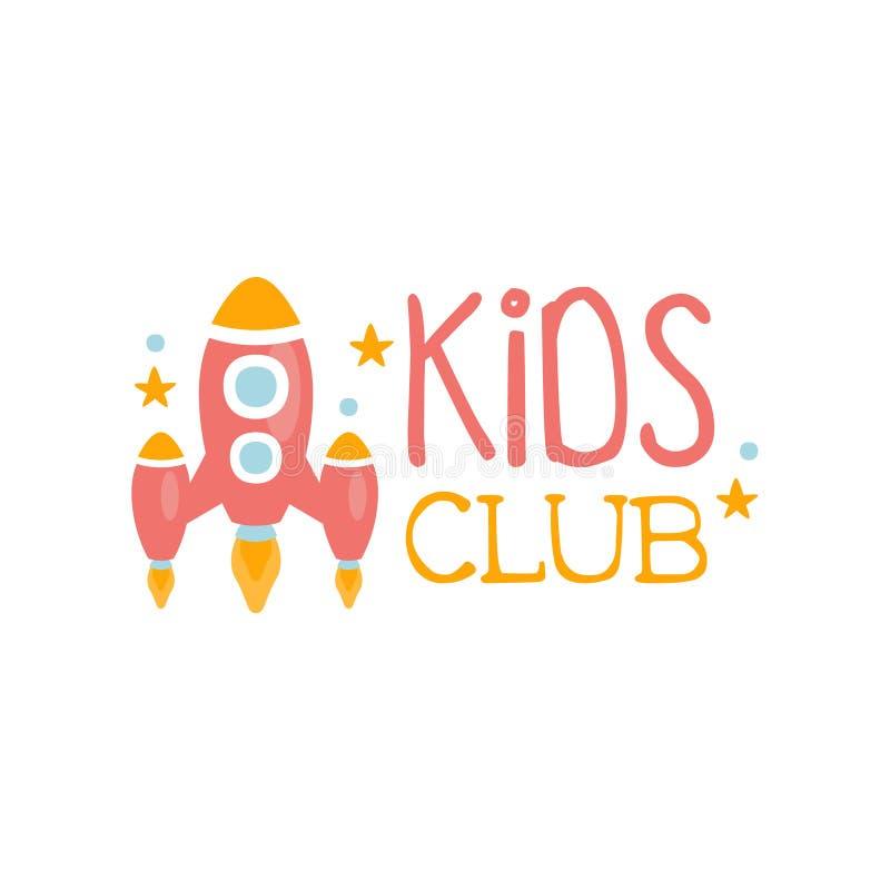 Kinderland-Spielplatz und Unterhaltungs-Verein buntes Promo-Zeichen mit Rocket Ship For The Playing-Raum für Kinder stock abbildung