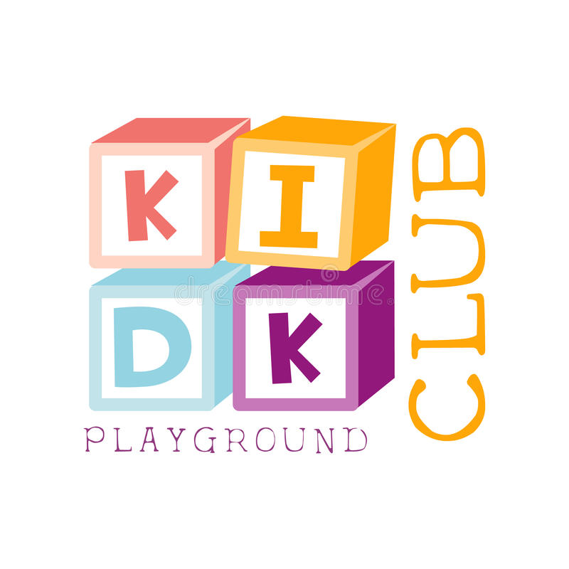 Kinderland-Spielplatz und Unterhaltungs-Verein buntes Promo-Zeichen mit Würfel-Erbauer für den spielenden Raum für lizenzfreie abbildung