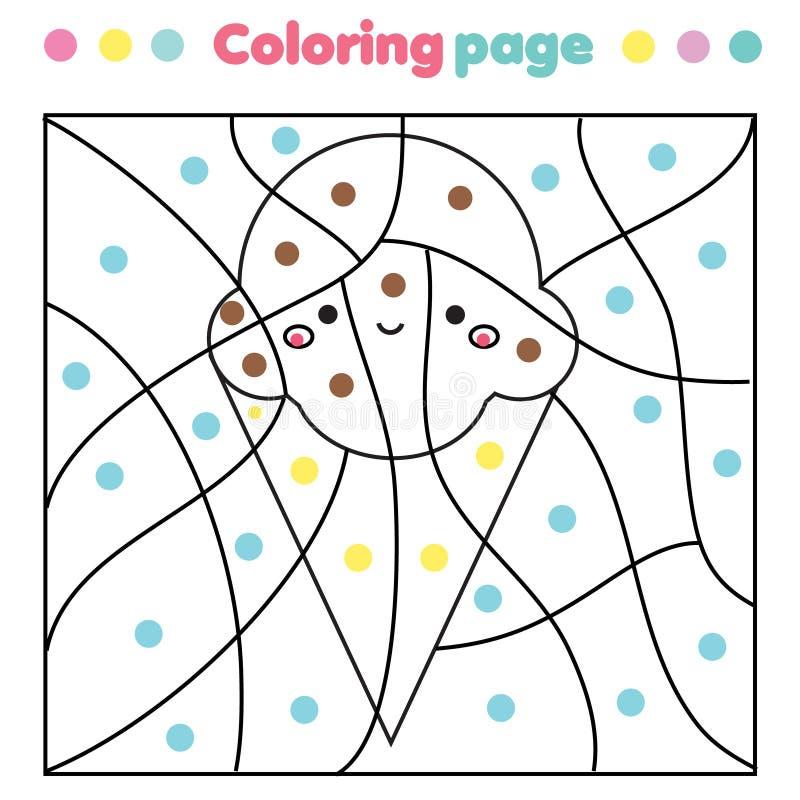 Kinderlernspiel Färbungsseite mit netter Eiscreme Farbe durch bedruckbare T?tigkeit der Punkte vektor abbildung