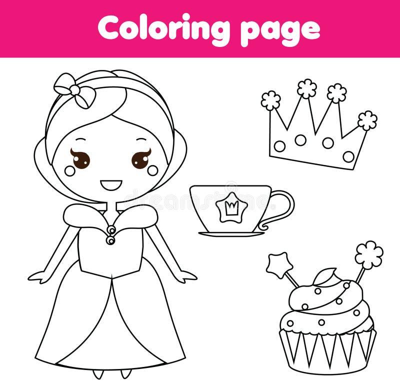Kinderlernspiel Färbungsseite mit netter Prinzessin, Schale und Krone stock abbildung